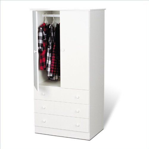 Prepac White Juvenile TV,Wardrobe Armoire by Prepac. $207.87. Some assembly may be required. Please see product details.. No matter what your decor, this practical and functional TV,Wardrobe Armoire with clean lines and classic round-shaped knobs will blend perfectly. It features a fresh white laminate finish and plenty of storage space. Features:  TV,Wardrobe Armoire made of engineered wood White laminate finish Two doors Three drawers on bottom Drawers slide smoothly on n...