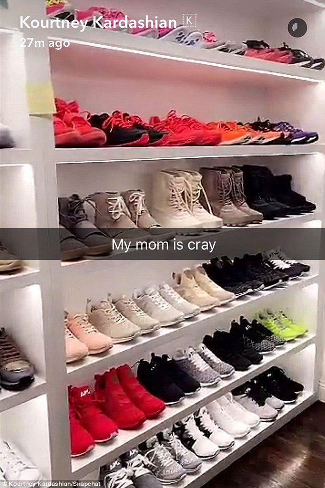 My Mom Is Cray Kris Daughter Kourtney Kardashian Shared A Snapchat Clip Of Wall Full Perfectly Organised Shoes