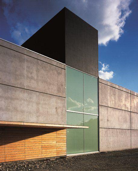 concrete, glass, timber