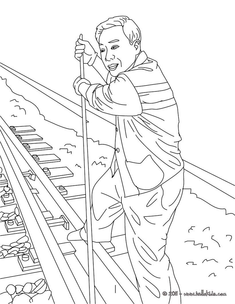 Go Green And Color Online This Rail Switchman Coloring Page Amazing Way For Kids To Discover Train Station Job More Origi Coloring Pages Coloring Books Color