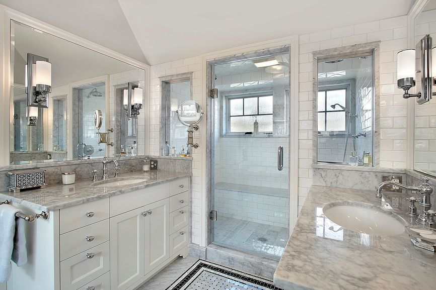 Transitional Master Bathroom With Minka Lavery Glass Note 1 Light Wall Sconce Frameless Showerdoo White Master Bathroom White Bathroom Designs Custom Bathroom