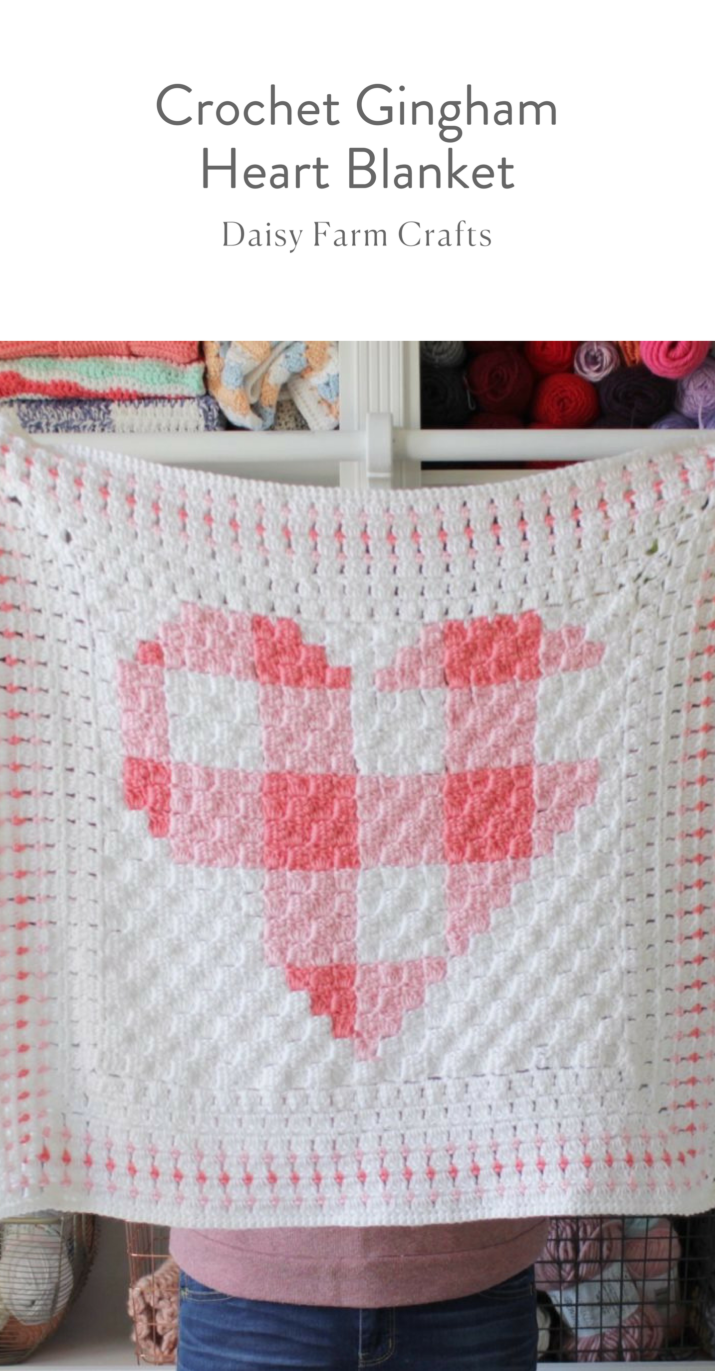 Free Pattern - Crochet Gingham Heart Blanket #moderncrochet ...