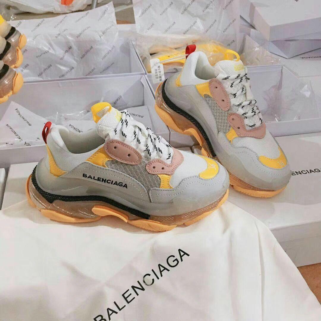 79 Balenciaga Triple S Sneaker Yellow White Pink