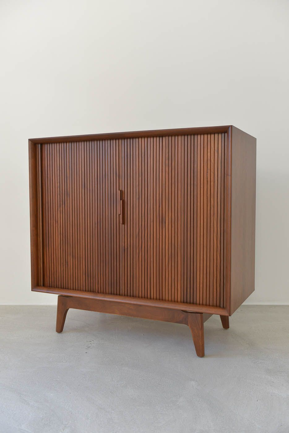 SOLD Vintage Walnut Tambour Door Media Cabinet  Deco chairs