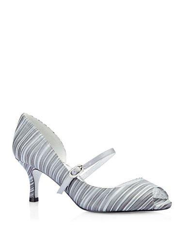 a10bf17fbc9f Adrianna Papell Janet Striped Peep-Toe Heels Women s Pewter 8.5 ...