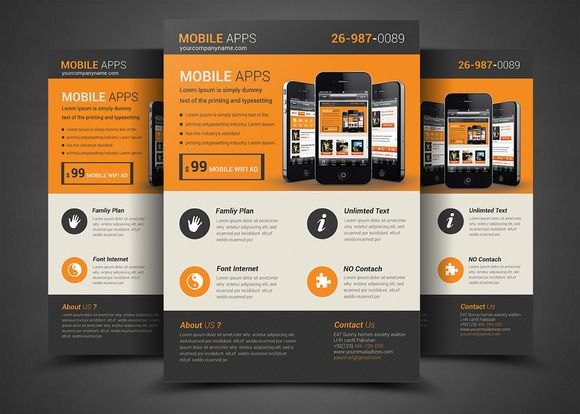 Mobile app flyer template flyer template mobile app and template mobile app flyer template fandeluxe Choice Image