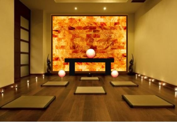 Himalayan Salt Wall Install Rendering For Existing Yoga Studio Negative Ion Generating Heating Option For Hot Y Yoga Studio Interior Hot Yoga Studio Salt Room