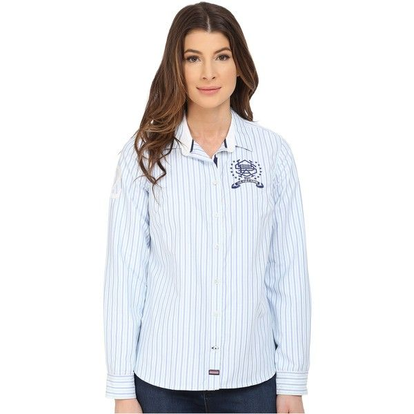 U.S. POLO ASSN. Vertical Striped Oxford Long Sleeve Shirt Women's Long... ($26) ❤ liked on Polyvore featuring tops, blue, long sleeve button up shirts, long sleeve shirts, oxford button down shirt, blue button down shirt and blue shirt