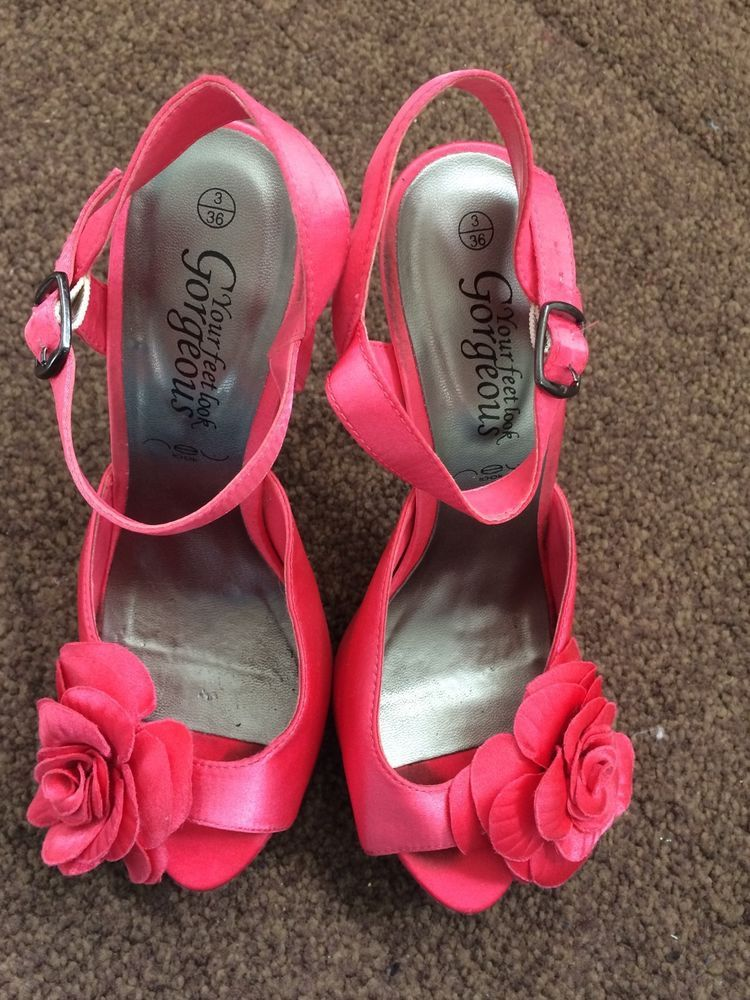 1a9450907a8 Newlook Ladies Size 3 Pink High Heels With Flower | Girls - Shopping ...