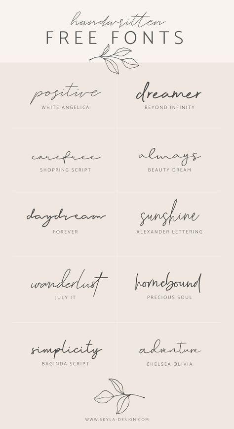 Handwritten free fonts   post by Skyla Design #font #fonts #script #handwritten #modern #calligraphy #signature #skyladesign #stylish #feminine #graphic #design #pink #branding