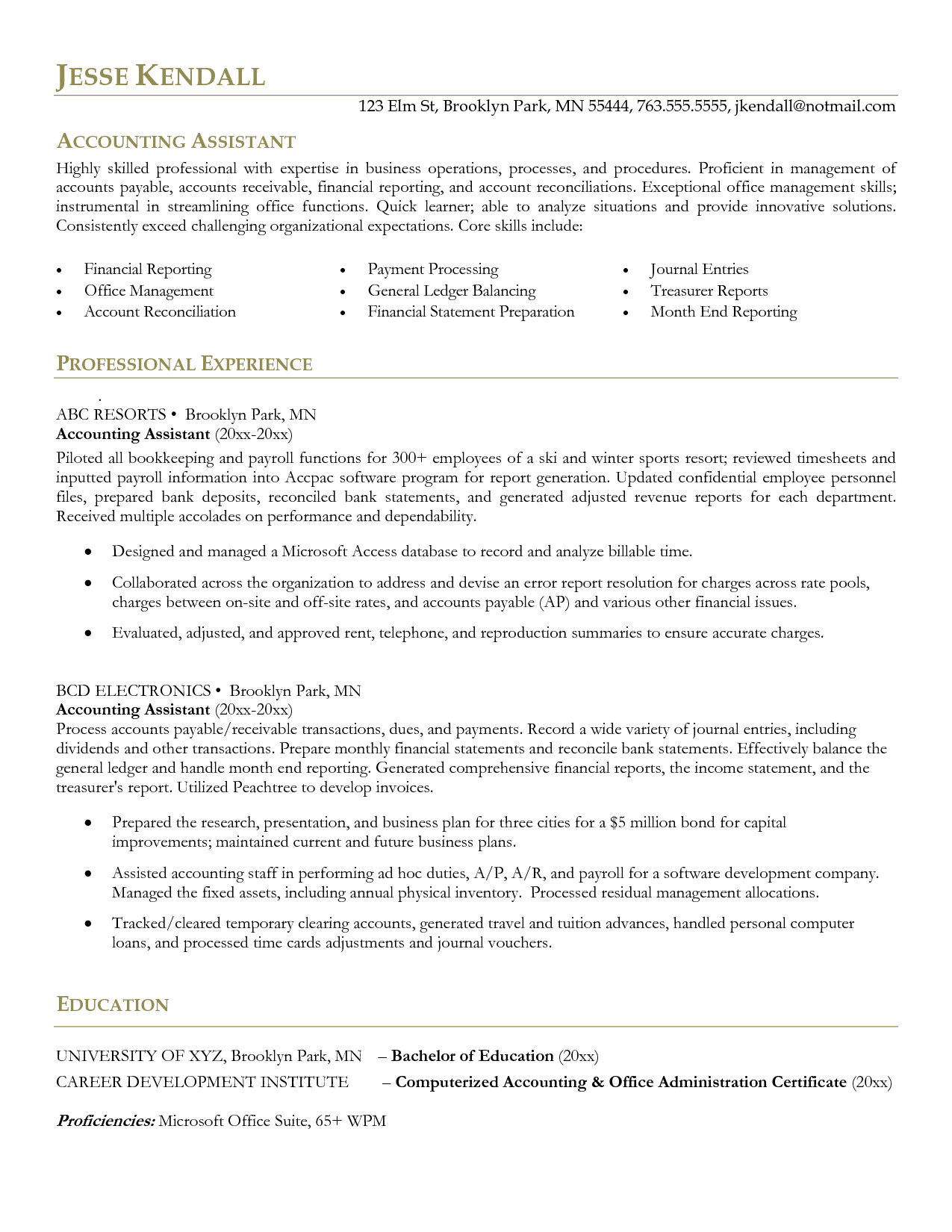 Reconciliation Accounting Resume - http://www.resumecareer.info ...
