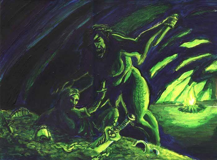 beowulf grendels mother fight monsters pinterest