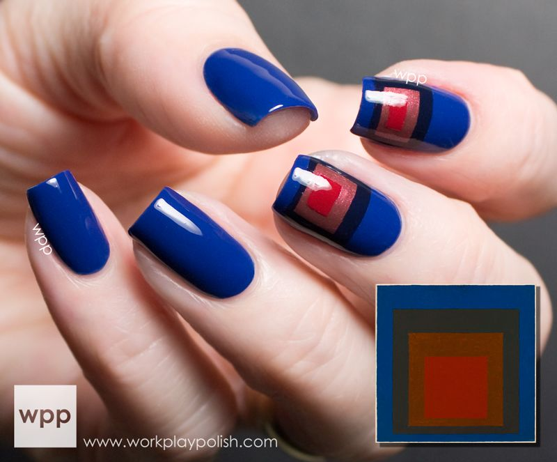 Art inspired mani -  OPI San Francisco Collection and Josef Albers painting