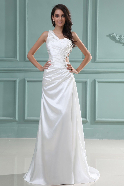 White Silk Like Satin Floor-Length A-Line Dress - | my style ...