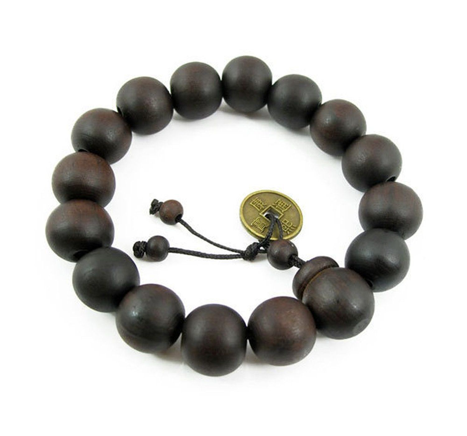 CrazyPiercing Feng Shui Coin with Tibetan Buddha Prayer Mala Black Wood Bracelet G071 >>> You can get more details by clicking on the image.