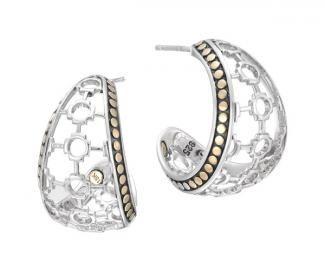 Dot Gold And Silver J-Hoop Earrings EZ34257