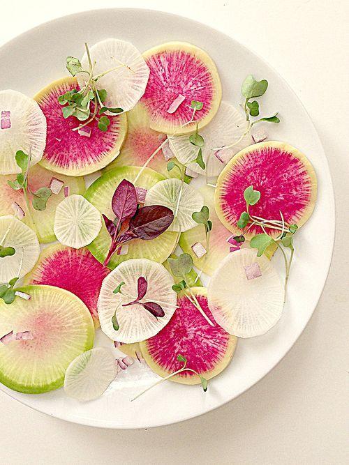 Watermelon Radish Carpaccio Salad with chopped red onion and micro-greens #vegan #glutenfree #paleo