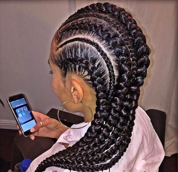 Cornrows Hairstyle for Black Women | Cornrows Half | Pinterest ...