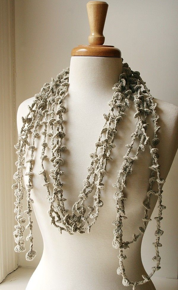 Women Fashion - Wearable Art - Fiber Jewelry - Sea Kelp Collection - No.1 - Organic Cotton Crocheted Lariat (Necklace, Scarf, Belt). $85.00, via Etsy.