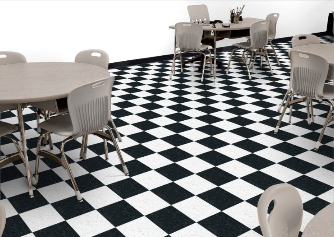 Armstrong Classic Black And White Checkerboard Pattern Vinyl Flooring Flooring Lvt Tile