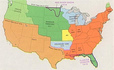 The expansion of slavery and the Missouri Compromise map of the ...