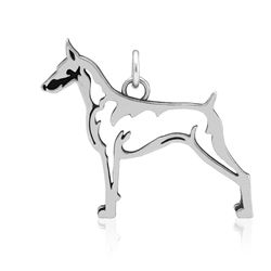 This Doberman Pinscher pendant can be worn on any necklace chain and with matching Doberman Pinscher earrings.  Doberman Pinscher breed jewelry is a memorable gift for a special dobe lover  Dazzling Paws Jewelry is made from Recycled Sterling Silver and marked .925.  Dazzling Paws Jewelry is 100% handmade in the USA.