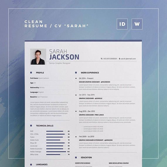 Clean Resume Vol 8 Word and Indesign Template Etsy - TRC Shop - resume for internship