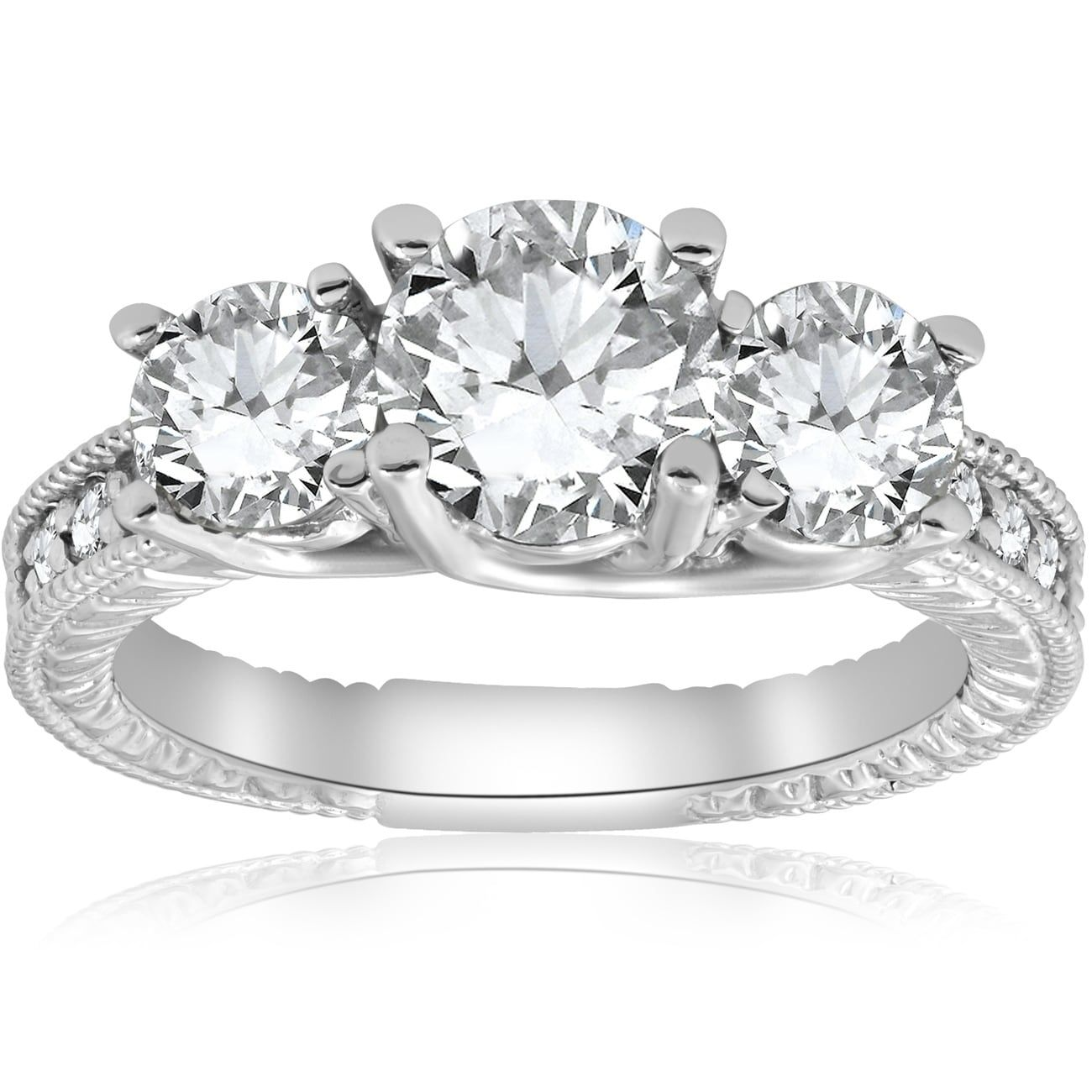 5e597eae0f91f Bliss 14K White Gold 2 1/2 ct TDW Diamond Clarity Enhanced Three ...