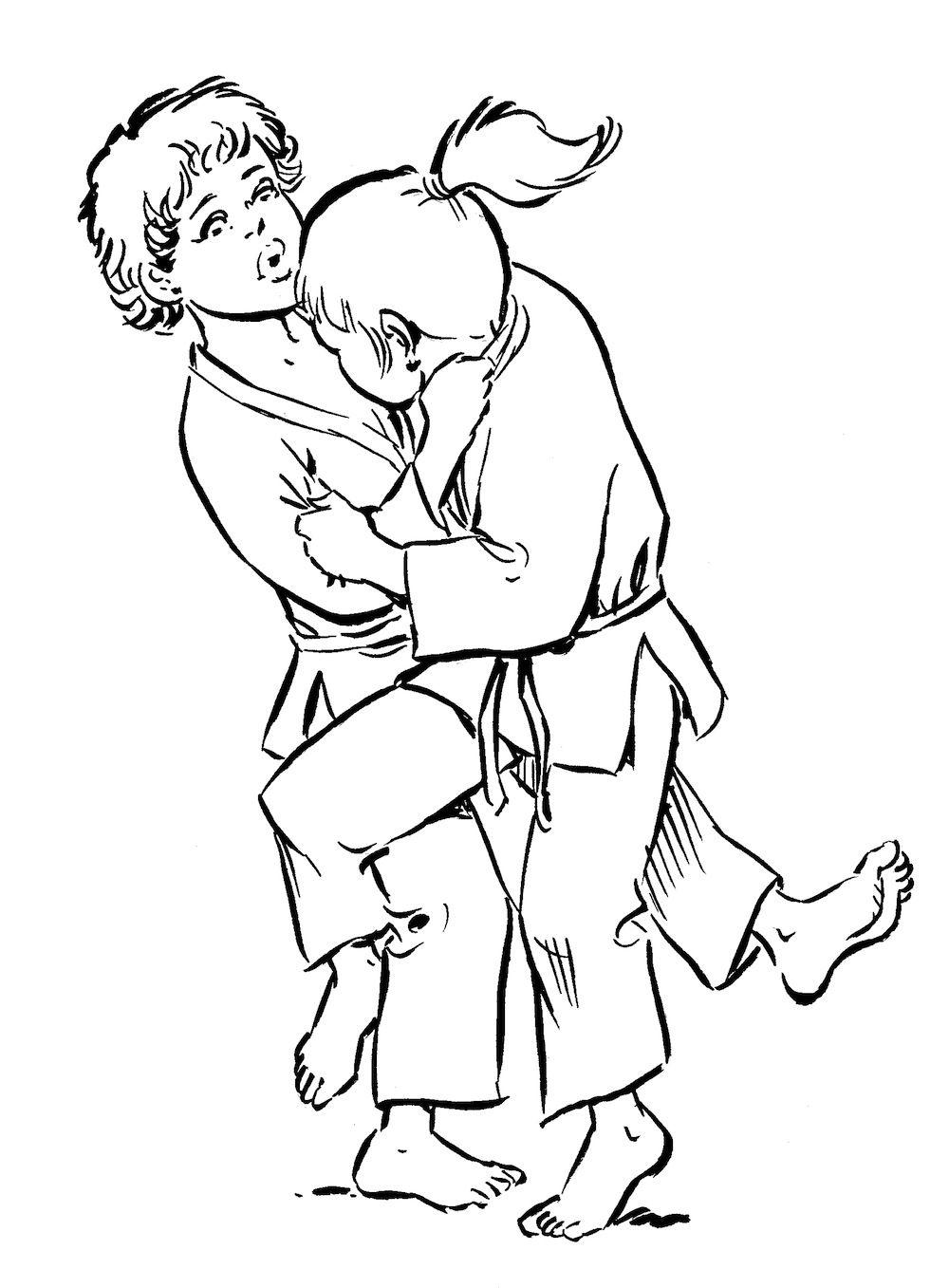 Blanco Celeste O Goshi Gran Cadera O Soto Otoshi Gran Caida Por El Exterior Koshi Guruma Rueda Sobre L Ninos Puntos De Presion Combate Cuerpo A Cuerpo