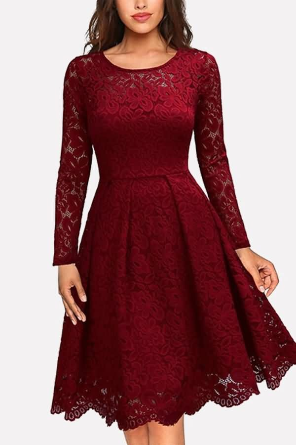 Dark-red Long Sleeve Round Neck Casual A Line Lace Dress | Lace
