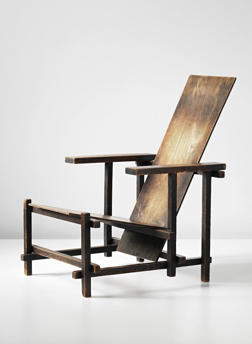 Gerrit Thomas Rietveld; Stained Beech And Beech Veneered Plywood Armchair  For Gerard Van De