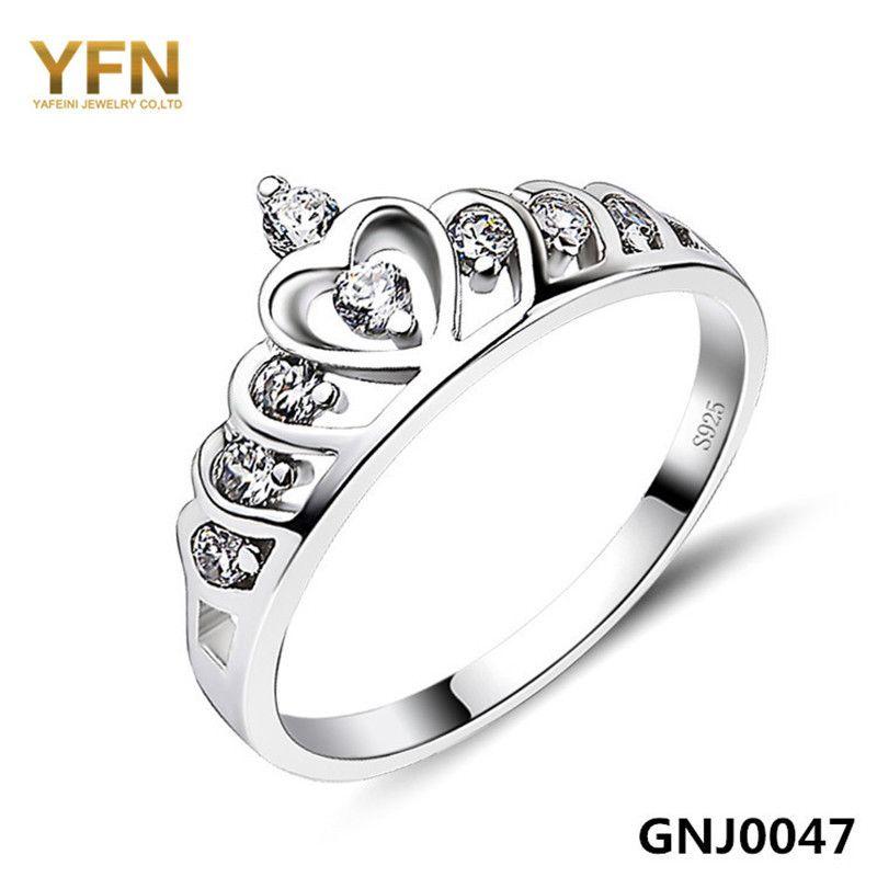 Anneau Genuine 925 Sterling Silver Cubic Zirconia Anello Gioielli di Moda Crystal Crown Anelli di san Valentino Per Le Donne GNJ0047