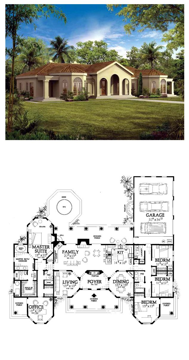 Southwestern Style Cool House Plan Id Chp 19827 Total
