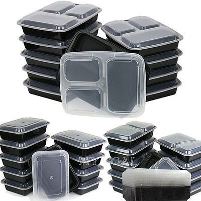 10pcs Microwave Safe Plastic Meal Prep Container Lunch Box Food