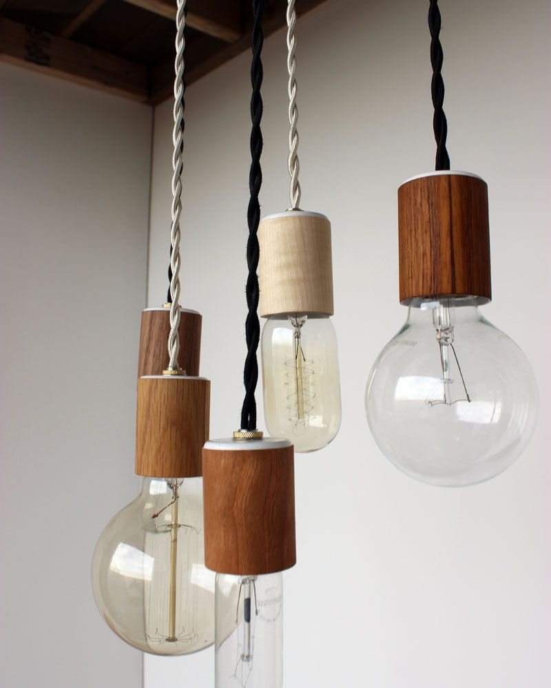 Wood veneered pendant light with bulb via etsy