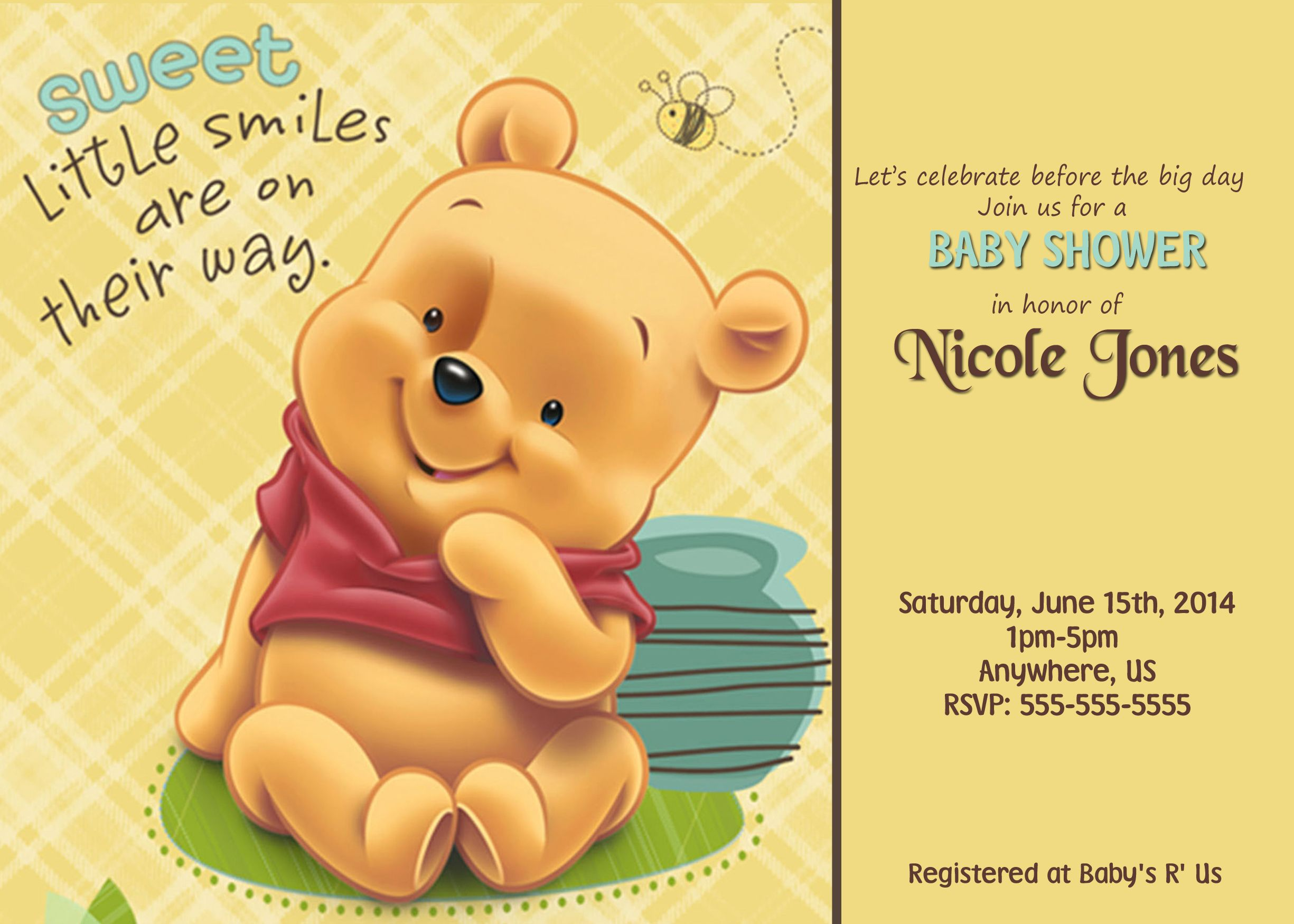 Amazing Winnie The Pooh Baby Shower Custom Invitations $8.99