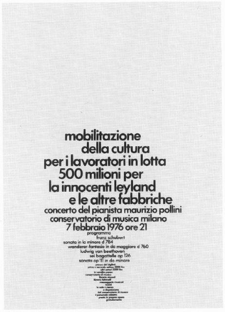 AG Fronzoni: Mobilitazione della cultura per i lavoratori in lotta (7 febbraio 1976)
