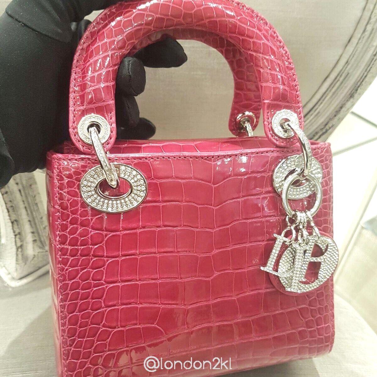 Mini Lady Dior in Croc in Pink | Lady