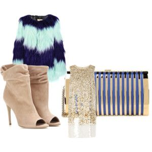 Dance the night out #party #dance #gold #polyvore #style #partyoutfit #outfit #fur #fauxfur #booties #set #fun #edgy