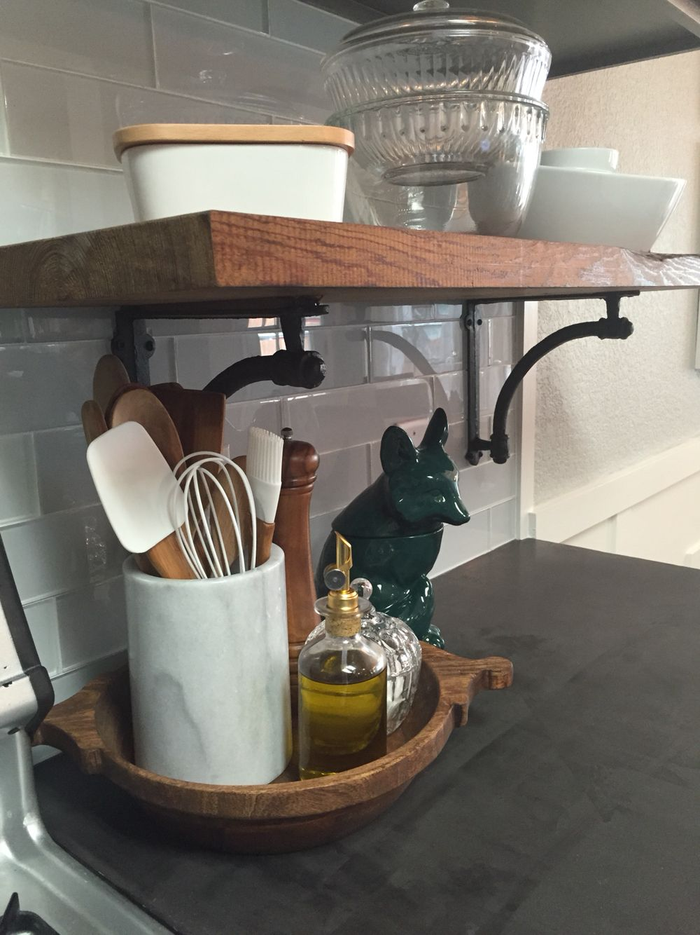 My updated kitchen as of may 2015 detail with white 3x12 glass detail with white 3x12 glass subway tiles from lowes and chunky reclaimed long leaf pine shelves reclaimed from an old cotton gin on the ship dailygadgetfo Images