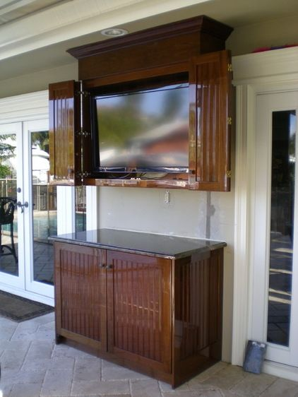 Traditional Patio Tv Cabinet Outdoor Backyard Pool