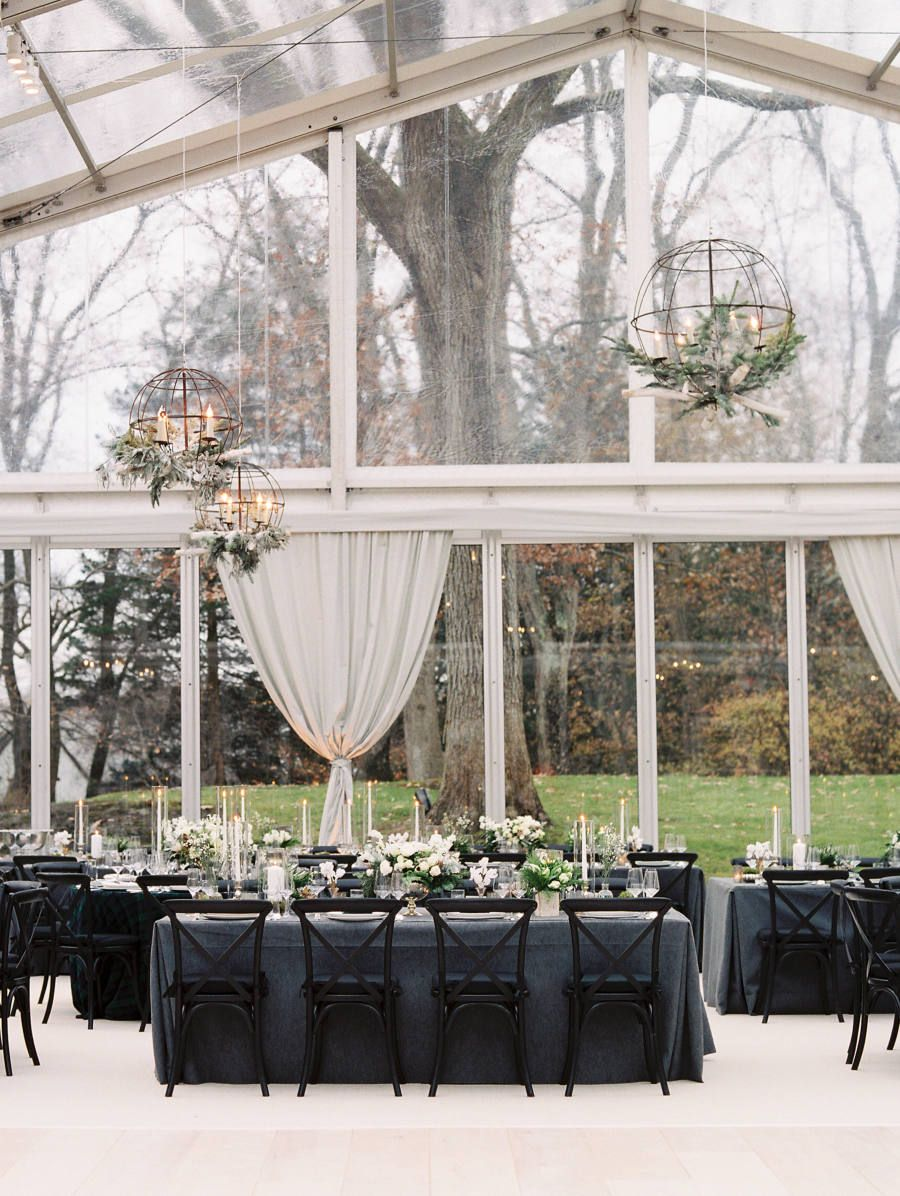 Gl Reception Room With Black Wedding Chairs And Grey Linens Photography Leila Brewster