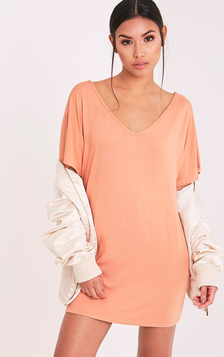 Basic deep peach v neck t shirt dress image fw list of