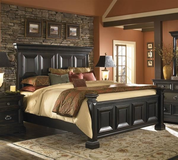 Best Brookfield Traditional Black Wood Cal King Panel Bed Master Bedroom Set 400 x 300