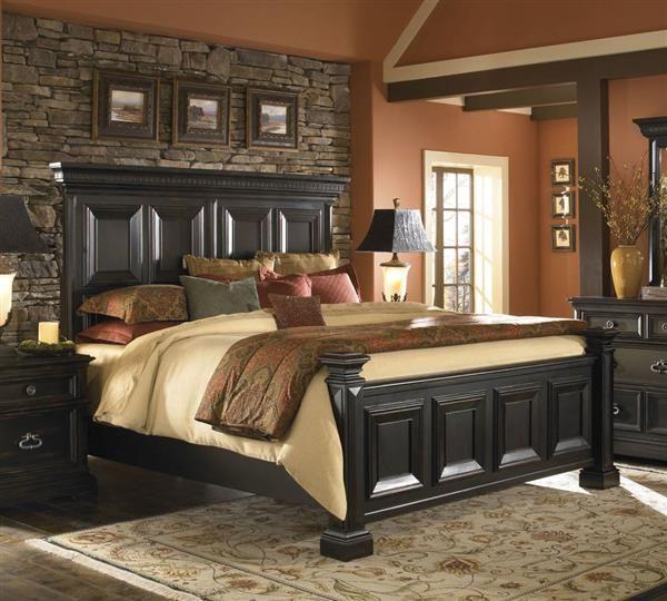 Brookfield Traditional Black Hardwood Cal King Panel Bed Master