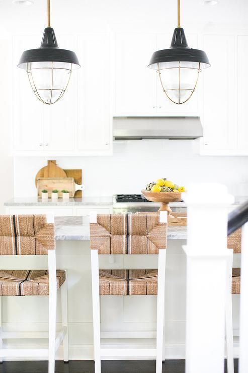 A bright white kitchen | Carson Counter Stools via Serena & Lily ...
