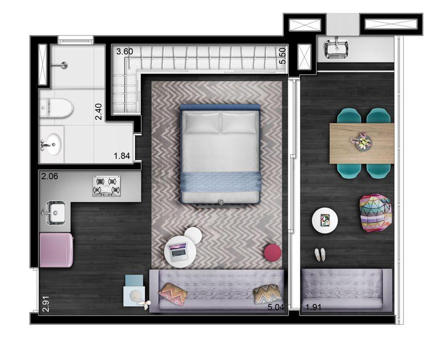 Neorama - Floor Plan - AMY/Oca Residencial Maracatins 酒店房间 in