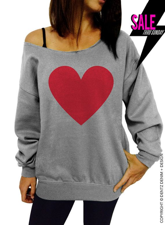 """Use coupon code """"pinterest"""" Heart Sweatshirt - Valentine's Day - Gray with Red Slouchy Oversized Sweatshirt by DentzDesign"""