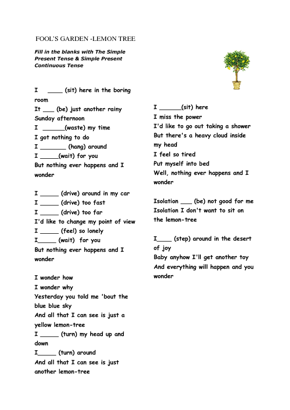 Song Worksheet Lemon Tree Present Simple Continuous – Point of View Worksheets Middle School