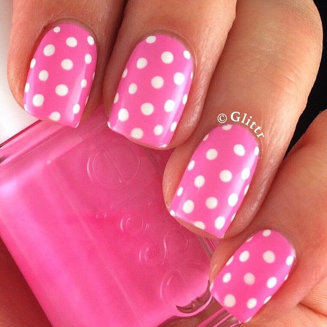 Pinterest Pink Nails Dot Nail Designs Polka Dot Nails